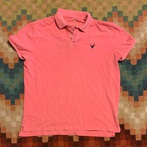 EUC American Eagle Polo Shirt XL Coral